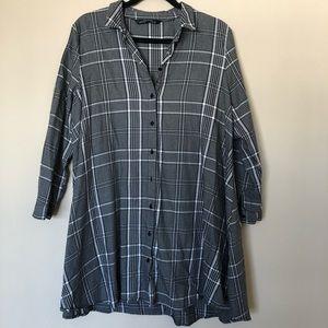 Zara Oversized Plaid Shirt Dress